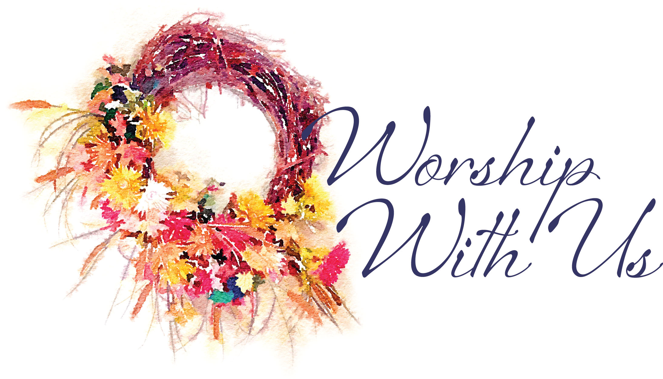 """Wreath in fall colors captioned """"Worship With Us"""