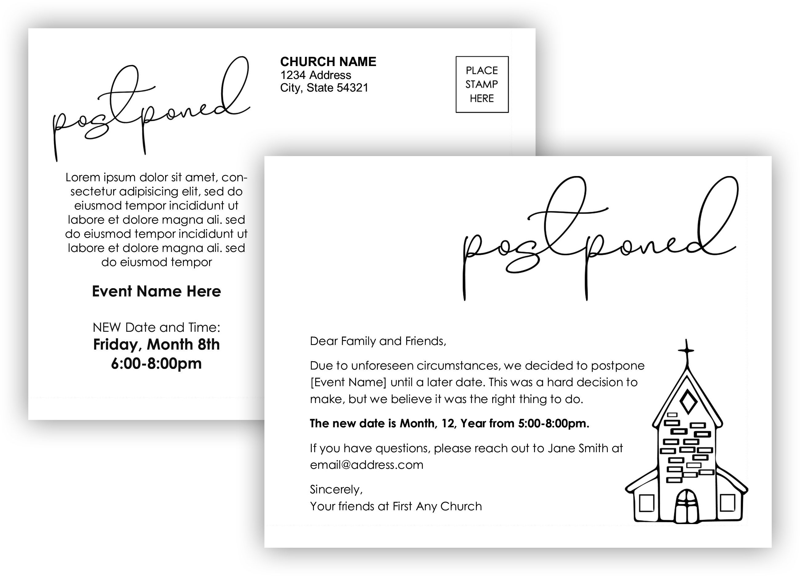 Free Postponed Postcard Template